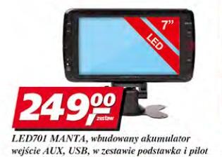 LED701 Manta, wbudowany akumulator wejście AUX, USB, w zestawie podstawka i pilot