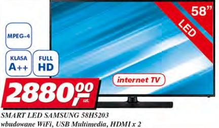 SMART LED Samsung 58H5203, wbudowane WiFi, USB Multimedia, HDMI x 2
