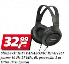 Słuchawki HiFi Panasonic RP-HT161 pasmo 10 Hz-27 kHz, dł.przewodu: 2 m, Extra Bass System