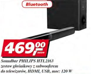 Soundbar Philips HTL2163 zestaw głosnikowy z subwooferem do telewizorów, HDMI, USB, moc: 120 W