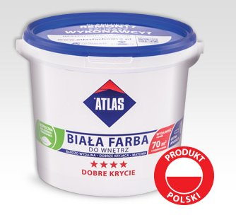 Farba biała do wnętrz, Atlas, 5 l