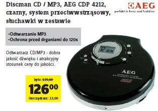 archiwum discman cd mp3 aeg cdp 4212 czarny system. Black Bedroom Furniture Sets. Home Design Ideas