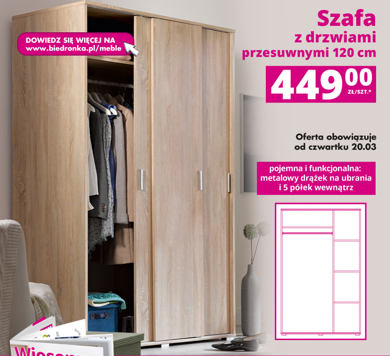 Archiwum Szafa Z Drzwiami Przesuwnymi 120 Cm Biedronka 20 03
